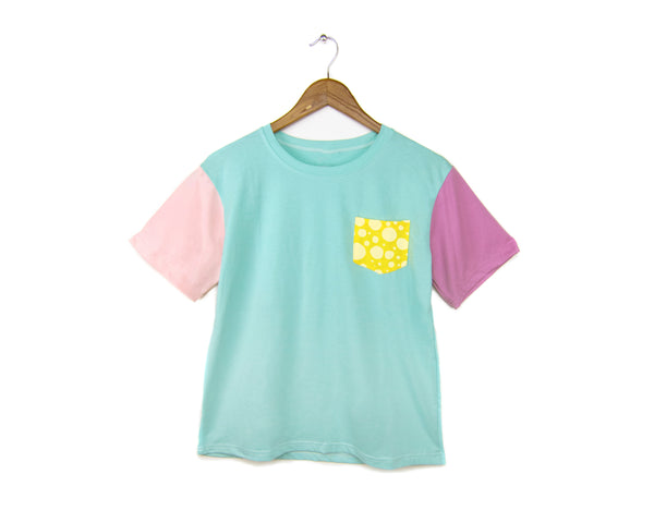 Cotton Candy Pocket Tee - Crew Neck Color Block Boxy Boyfriend Fit T-Shirt in Pastel Turquoise Polka Dot - Women's XS/S M/L
