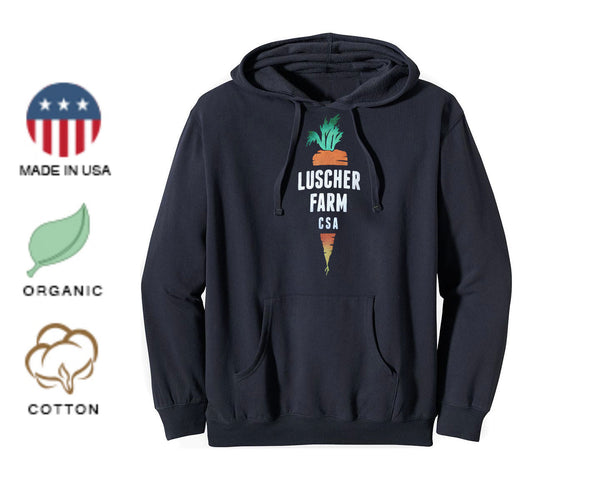 Luscher Farm CSA Carrot Logo Organic Made in USA Pullover Hoodie