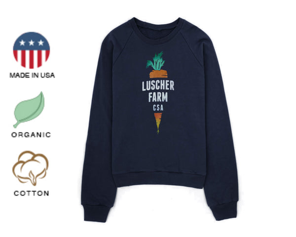 Luscher Farm CSA Carrot Logo Organic Made in USA Pullover Sweatshirt