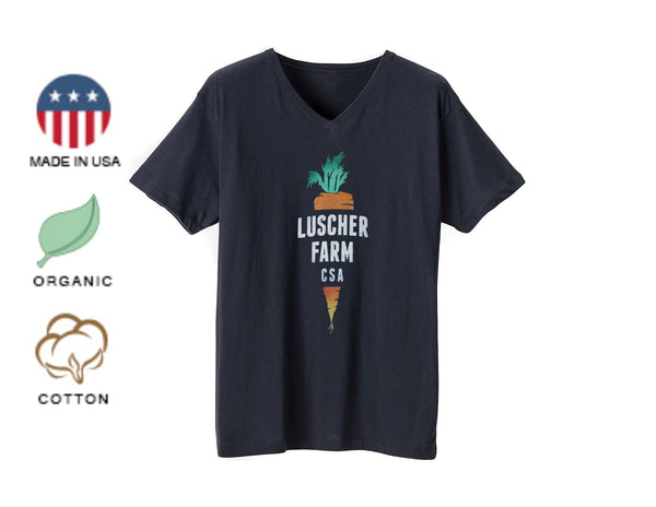 Luscher Farm CSA Carrot Logo Organic Made in USA V-Neck T-shirt