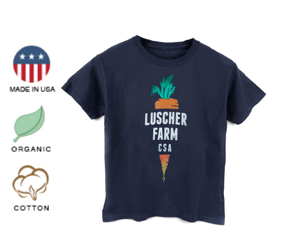Luscher Farm CSA Carrot Logo Organic Made in USA Toddler & Youth T-shirt