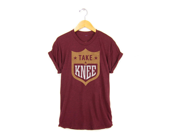 Take a Knee NFL logo t-shirt #takeaknee #imwithkap in cardinal red by two string jane