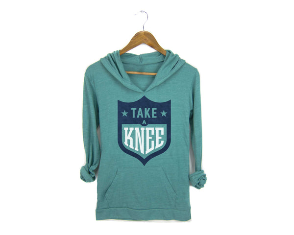 Take a Knee NFL logo lightweight hoodie #takeaknee #imwithkap in turquoise by two string jane