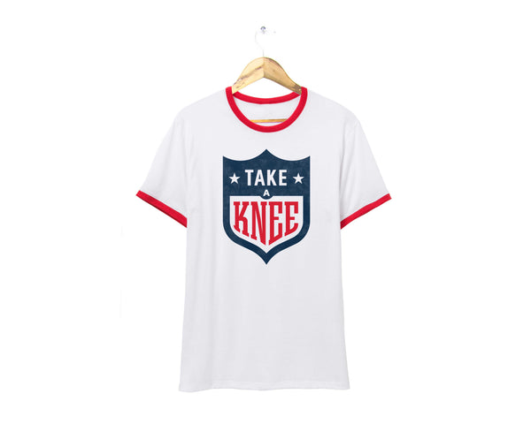 Take a Knee NFL logo ringer t-shirt #takeaknee #imwithkap in red, white, and blue by two string jane