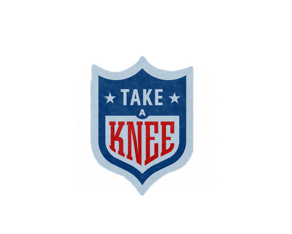 Take a Knee NFL logo Patch #takeaknee #imwithkap in red, white, and blue by two string jane