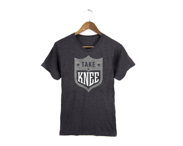Take a Knee NFL logo t-shirt #takeaknee #imwithkap in dark charcoal gray by two string jane