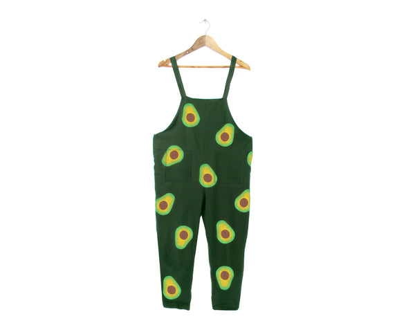 Avocadoveralls avocado print overalls, Minimalist Overalls, Oversized Simple Jumpsuit, Vintage Cropped Romper in Forest Green - Unisex Size S-5XL