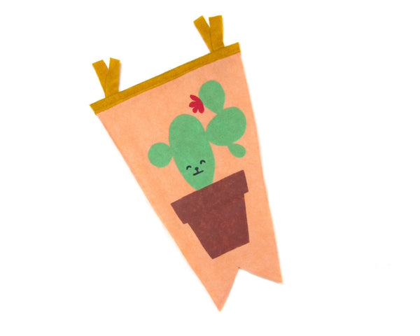 Cactus Friend Felt Pennant by two string jane