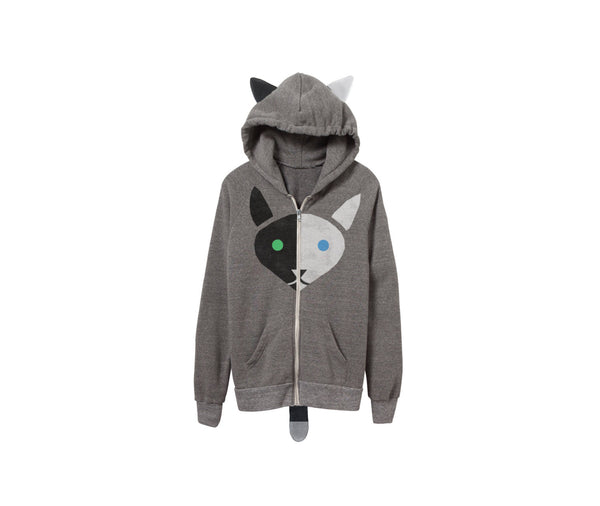 Geo Two Tone Cat Hoodie by two string jane