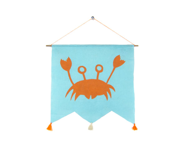 Happy Crab Felt Banner by two string jane