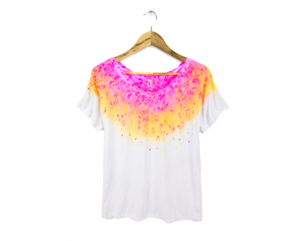 two string jane Splash Dye Scoop Neck Tshirt in Acid Pink