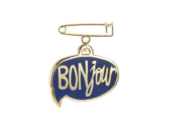 BONjour Enamel Pin in Navy by two string jane