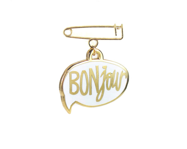 BONjour Enamel Pin in White by two string jane