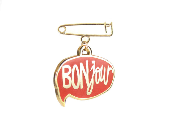 BONjour Enamel Pin in Red by two string jane