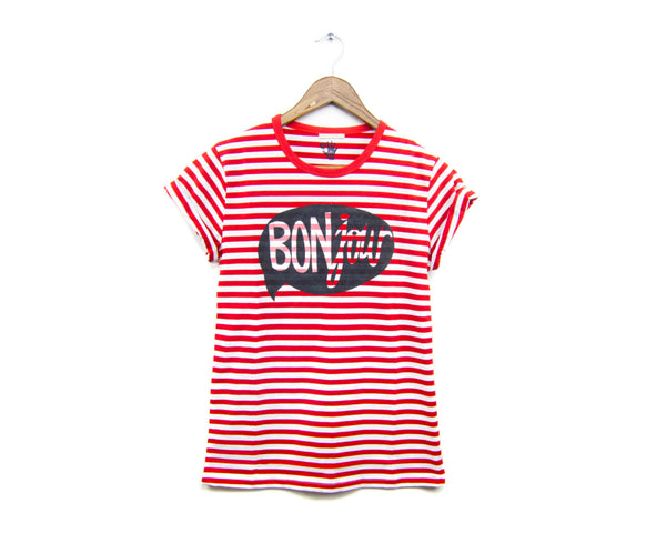 BONjour Tee - Red Stripe by two string jane