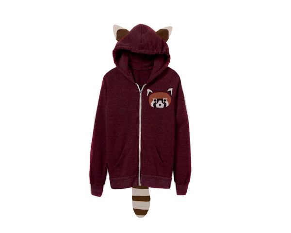 Geo Red Panda Hoodie by two string jane