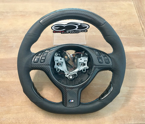 BMW E46 M3 Flat Bottom Carbon Fiber upgraded Premium Steering Wheel