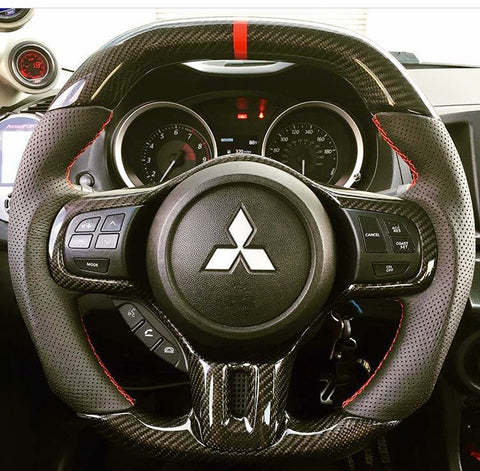 Mitsubishi EVO X OEM Flat Bottom Carbon Fiber Steering Wheel