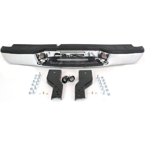 OEM Replacement Rear Bumper (CHROME FINISH FLEETSIDE WITH BLACK PADS) for Chevrolet S10 Sonoma Isuzu Pickup