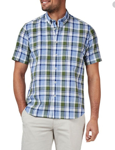 BLAZER NOAH SHORT SLEEVE CHECK SHIRT NAVY/OLIVE