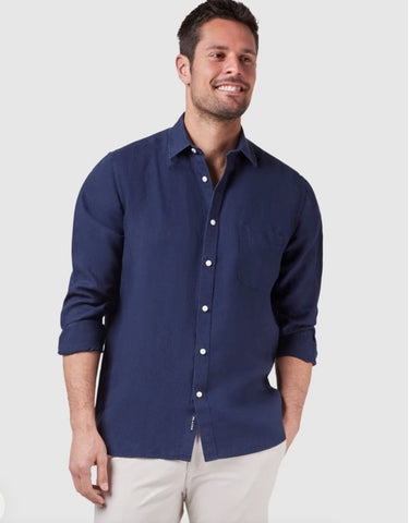 BLAZER COOPER LONG SLEEVE PLAIN LINEN  SHIRT NAVY