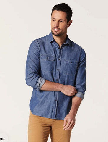 BLAZER BEN LONG SLEEVE DENIM DOUBLE POCKET SHIRT