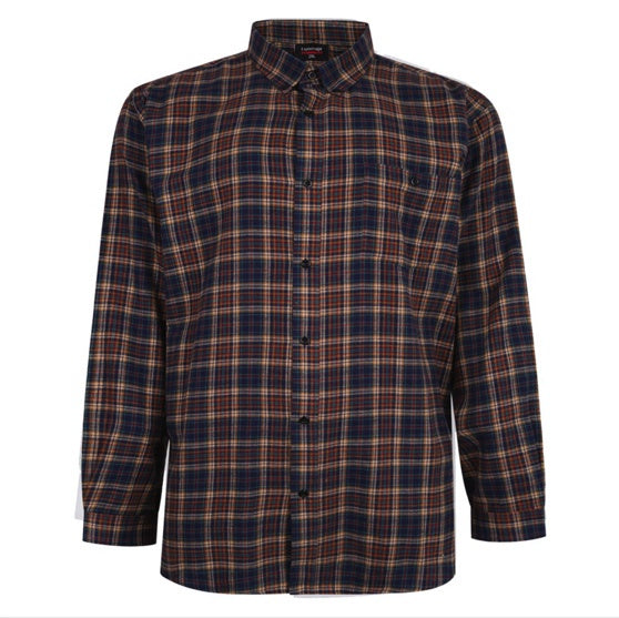 ESPIONAGE NAVY/SAND BRUSH CHECK SHIRT