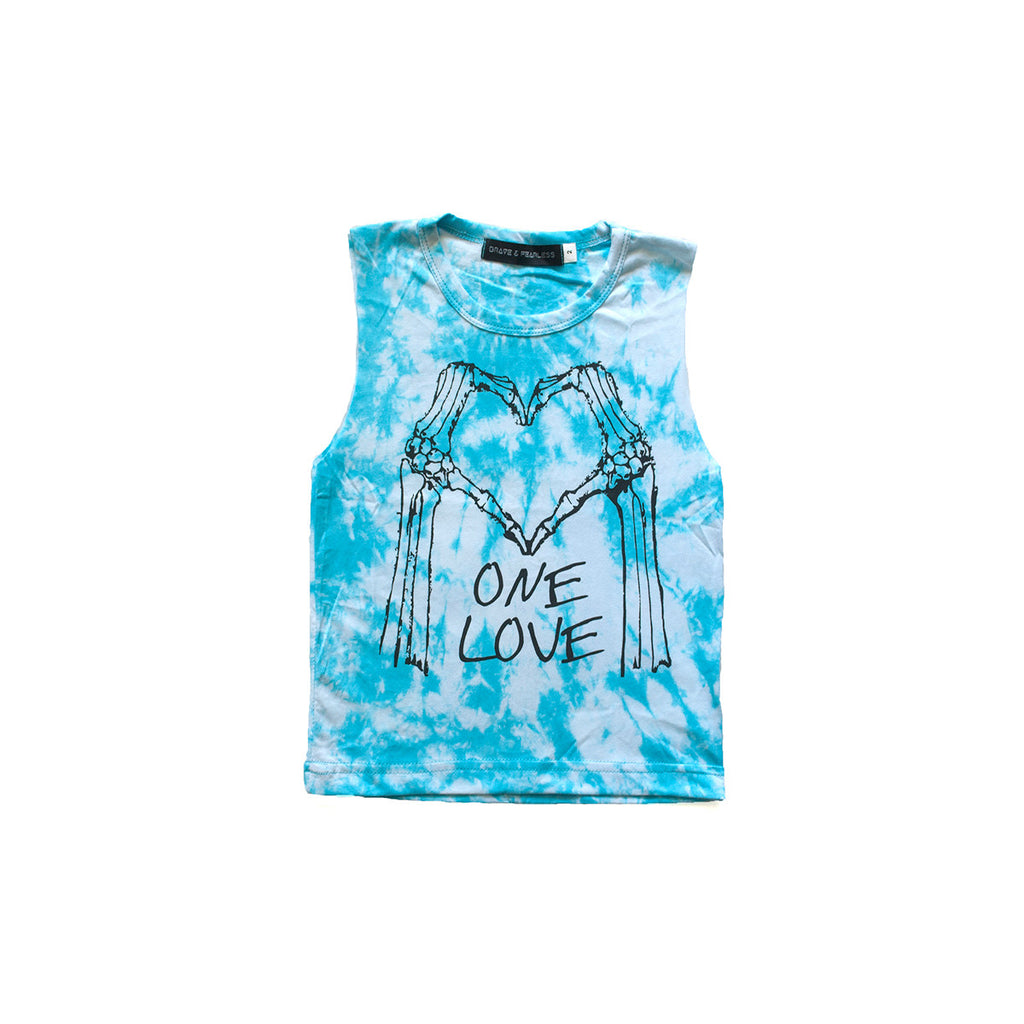 One Love Skeleton Heart Muscle Tee