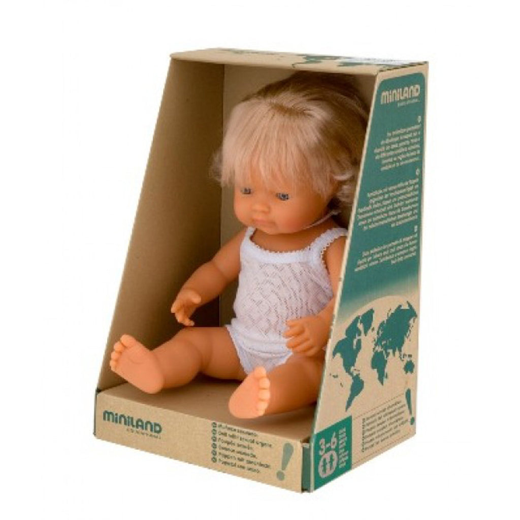 Miniland Anatomically Correct Baby Doll - Caucasian Girl 38cm