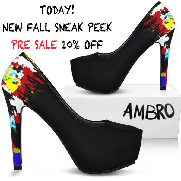 Sneak Peek for Fall PRE SALE New AMBRO Graffiti Accented Heels - 10% +10% Off for NEW customers!