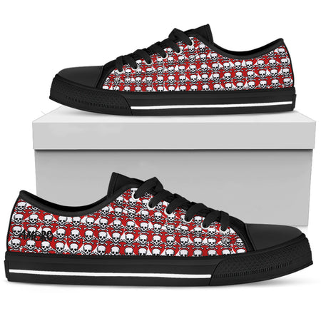 "Mens Poison Love Red Shocked Black AMBRO Print ""Michael"" Low Tops"