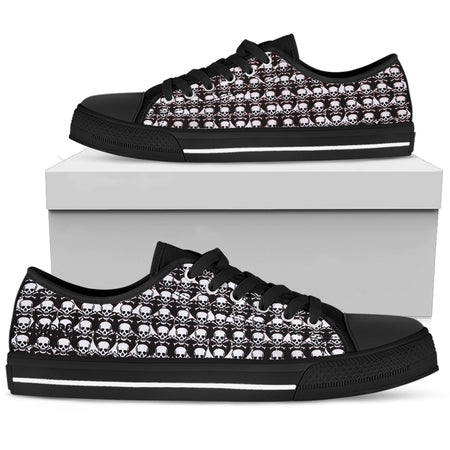 Mens Poison Love Red Hearts & Skulls Low Tops