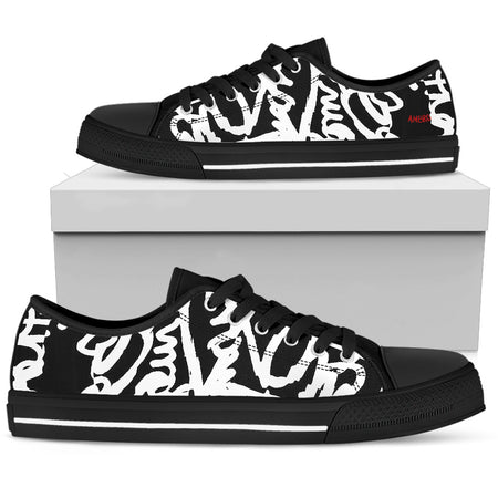 "Men's Poison Love Red Hearts & Skulls ""Charles"" Low Tops"