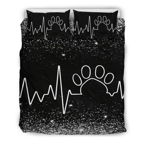 Heart Beat With Paw Bedding Set Black