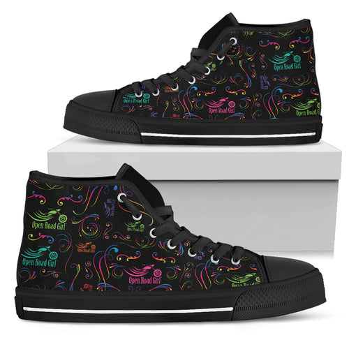 RAINBOW SCATTER DESIGN OPEN ROAD GIRL Women's High Top