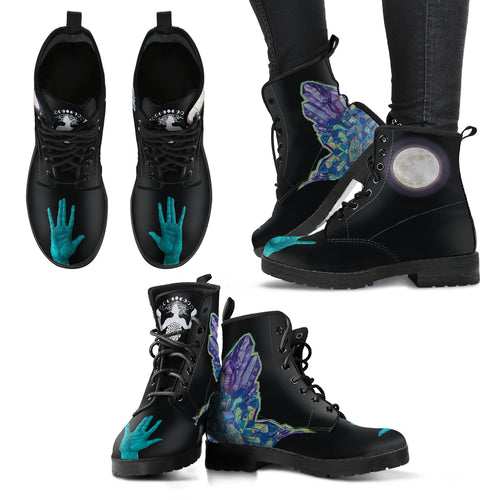 Purple Crystal & Moon side & Front hand - Women's Leather Boots