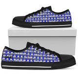 Mens Poison Love Electric Cobalt Hearts & White Skull AMBRO Print Low Tops