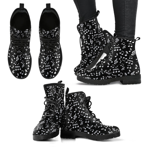 Music Notes Women's Leather Boots - Black