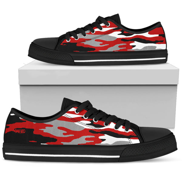 "Women's AMBRO Flag Red, White & Black ""Maggie"" Low Tops"