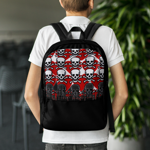 Melting Skull Red Backpack
