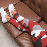 Red Black & White Camo AMBRO Print Smooth & Silky Leggings