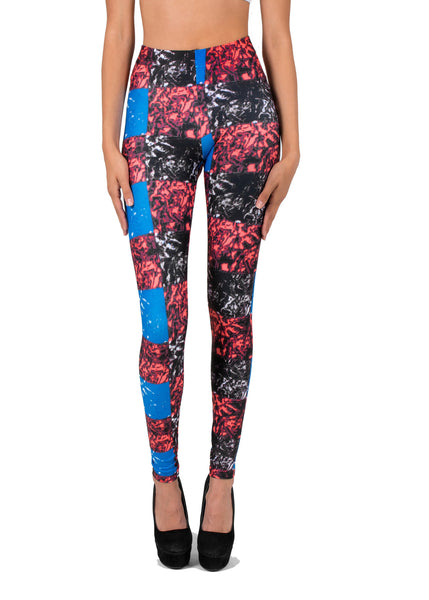 Racey Thoughts Red Black Blue Checkerboard AMBRO Print Smooth & Silky Leggings