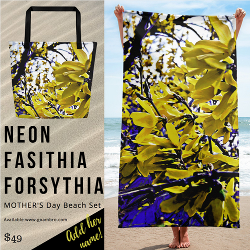 "NEW for Mother's Day! ""Neon Fasithia Forsythia Beach & Pool Set"""
