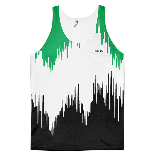 Mens Green & Black Dripping Paint Classic Fit Tank