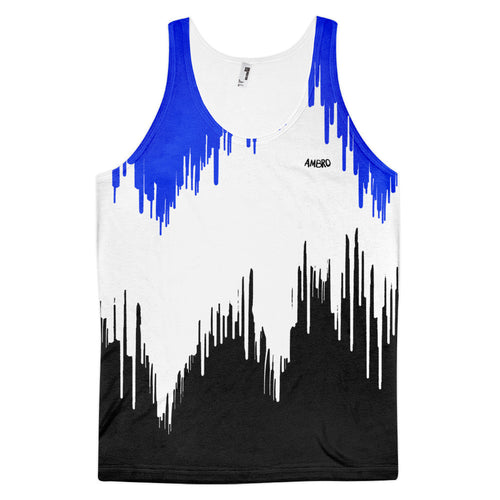 Mens Blue & Black Dripping Paint Classic Fit Tank