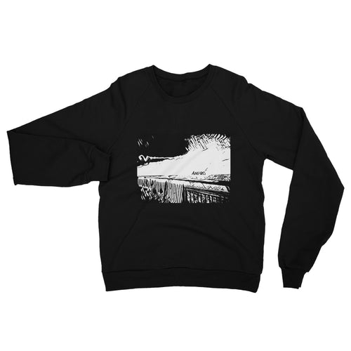 Noir Winter Beach Scene Unisex California Fleece Raglan Sweatshirt