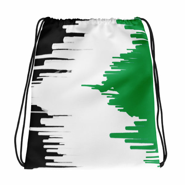 AMBRO Print Pain Drip Green Black & White Drawstring bag