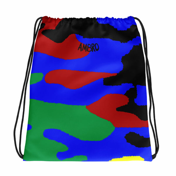 AMBRO World Map Camo Print Red Green Blue & Black Drawstring bag