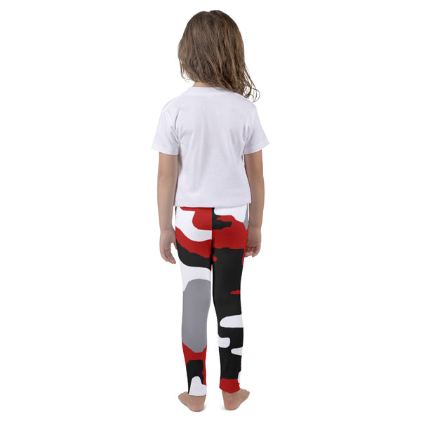 Red White Black Camo AMBRO Print Kid's leggings