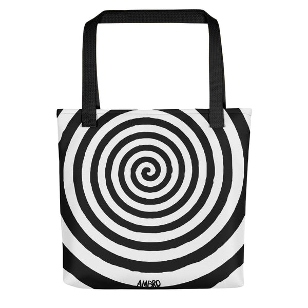 Black and White Whirling Spiral Tote Bag